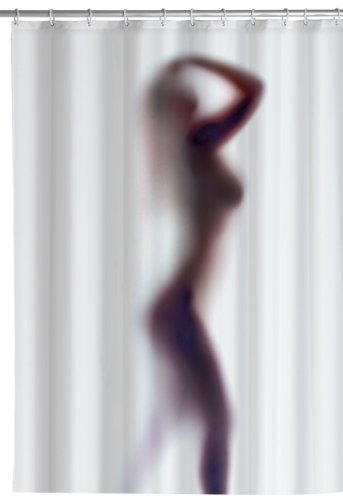 WENKO 8199100 Anti-Schimmel Duschvorhang Silhouette - Anti-Bakteriell, waschbar, mit 12 Duschvorhangringen, 100 % Polyester, weiß