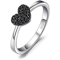 JewelryPalace Anillo dulce en forma de corazón adornado Espinela negro en palta de ley 925 Tamaño 19