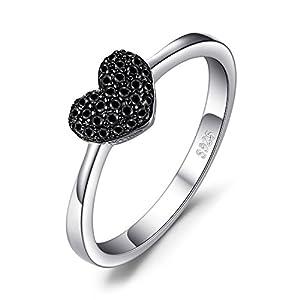 JewelryPalace Corazón Espinela Negro Anillos