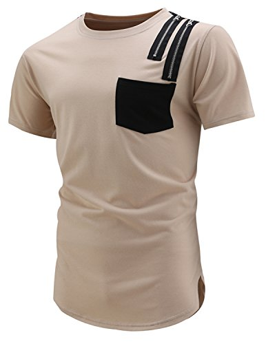 YCHENG Herren Sommer Kurzarm Rundhals T-Shirt Mode Hip Hop Slim Fit Basic Shirt Beige