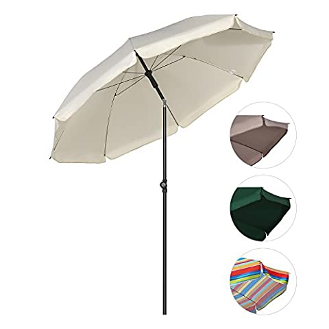 Parasols Blanc - Sekey® Parasol Ø 200 cm inclinable pour
