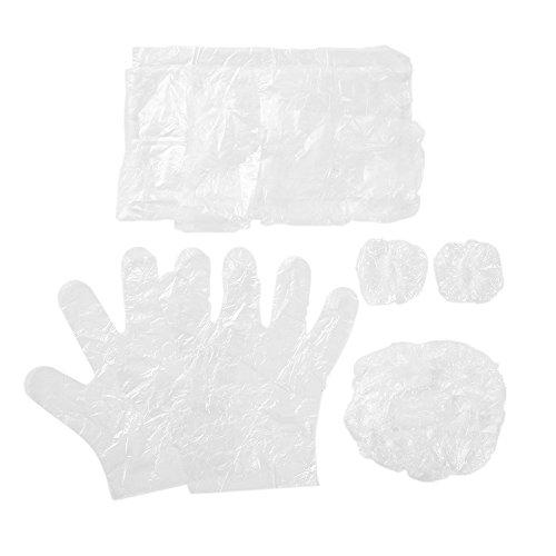 Anself 10 sets / pack 4pcs Kit d'Outils de Teinture pour les Cheveux Plastique Jetable Chapeau de Cheveux Oreille Gants