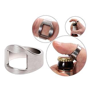 Alsino Edelstahl Flaschenöffner Finger Ring Rostfrei Fingerringöffner Bieröffner, wählen:22 mm