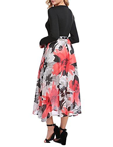 Damen Herbst Elegant Langarm Blumen Kleid mit Gürtel Patchwork A-Linie Cocktailkleid mit V-Ausschnitt Partykleid Chiffonkleid Abendkleid Midikleid Rot