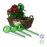 Relaxdays Globes d'arrosage en Plastique Lot de 4 Distributeur Eau Plantes 2 semaines Pot Fleurs