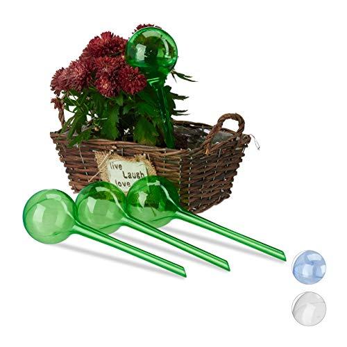 Relaxdays Bewässerungskugeln, 4er Set, Dosierte Bewässerung, 2 Wochen, Versenkbar, Topfpflanzen, Deko, Kunststoff, Grün, PVC, Standard