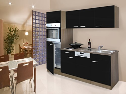 Respekta Incasso Single Block cucina cucina riga 205cm Rovere York Nero