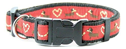 Halskette für Hunde, Dackel, Rot, Größe M Länge 31–47cm Breite 2cm