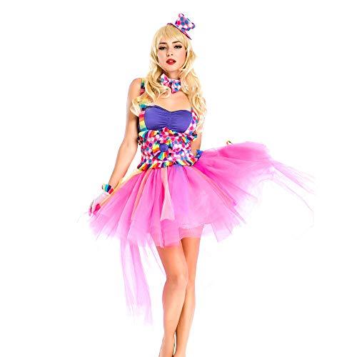 n 5 stück halter dress mädchen halloween kostüm mit headwear, neck ring, handschuhe erwachsene Weihnachtsfeier Kleid Requisiten (Farbe : Photo Color, größe : One size) ()