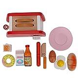 Kids Kitchen Pretend Accessories Toy Set, Cooking Wooden Pop-up Toaster Toy Kitchen Bread Maker Set(Toaster Set)