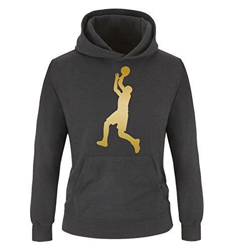 Comedy Shirts - Basketballspieler - Kinder Hoodie - Schwarz/Gold Gr. 152/164
