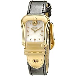 Fendi B. Fendi Ladies Mother-of-Pearl Diamond Dial Yellow Gold Plated Watch F380424521D1