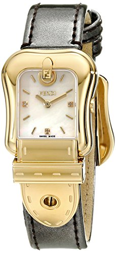 Fendi B. Fendi Ladies Mother-of-Pearl Diamond Dial Yellow Gold Plated Watch F380424521D1