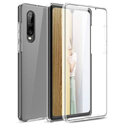 Winhoo Kompatibel mit Huawei P30 Hülle 360 Grad Crystal Clear Transparent Hüllen mit Integriertem Displayschutz Silikon und PC Handyhülle Schutzhülle für Huawei P30 Durchsichtige