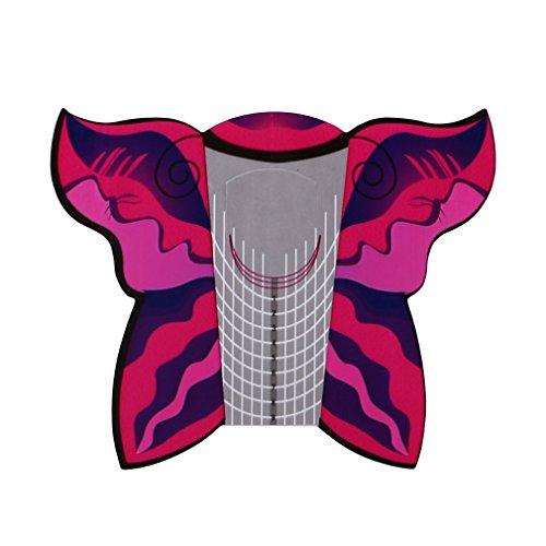 Kingus 100 stücke Nail art Papier Tray Tipps Erweiterung Forms Guide Quadrat Form Aufkleber Nagel Form Nail art Aufkleber, Schmetterling -