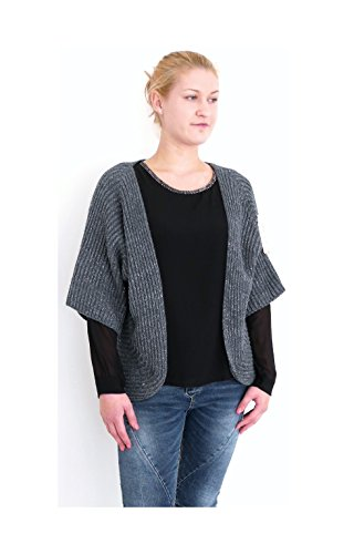 Damen Mode Open front Strickjacke Poncho fly away Cardigan mit Lurex (8299) (anthrazit-silber) (Fly Away Strickjacke)