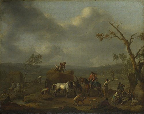 Das Museum Outlet-Jan Lingelbach-Bauern laden eines Heu Warenkorb, gespannte Leinwand Galerie verpackt. 40,6x 50,8cm