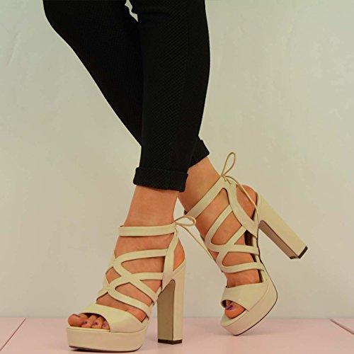 Cucu Fashion ,  Damen Knöchel-Riemchen Hautfarben