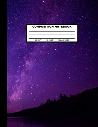 Composition Notebook: Purple Blue Starry Night Sky Cover Design  | College Ruled | 120 Blank Lined Pages | 8.5