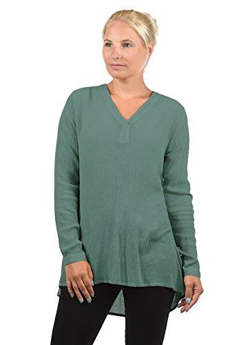 BlendShe Creole Damen Tunika Bluse Langarm Mit V-Ausschnitt, Größe:M, Farbe:Peacoat (24012) - Plus Size Peacoats