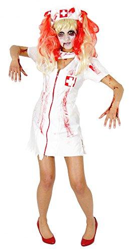 Foxxeo 40082 | blutiges Zombie Krankenschwester Kostüm für Damen mit Mundschutz, blutigen Strümpfen, Schwestern Haube (ohne Perücke), Größe:L (Zombie Krankenschwester Kostüm)