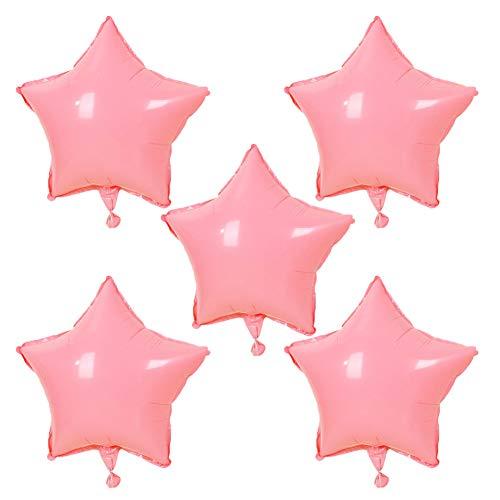 Scrox 5pcs Globos de Cumpleaños Aluminio Forma de Estrella Macaron Látex Globos de Helio Decoracion para Fiesta Juguete,Boda, Navidad,Celebraciones (Rosa)