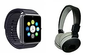 MIRZA Smart Watch & JBL 771C Bluetooth Headphones for MICROMAX CANVAS NITRO 2(JBL771C Bluetooth Headphones & GT08 Smart Watch Phone with Camera & SIM Card Support Hot Fashion New Arrival Best Selling Premium Quality Lowest Price with Apps like Facebook,Whatsapp, Twitter, Sports, Health, Pedometer, Sedentary Remind,Compatible with Android iOS Mobile Tablet-Assorted Color)
