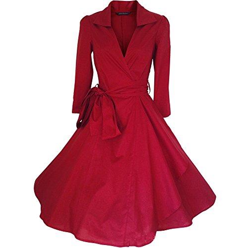 WintCO Damen Vintage Mantel Kleider formal Mantel mit Gürtel V-Ausschnitt Retro Kleid Audrey Hepburn Kleid (M, rot) (Vintage Mantel)