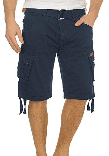 INDICODE Hampton Herren Cargo Shorts Bermuda Shorts kurze Hose mit Gürtel aus 100% Baumwolle Navy
