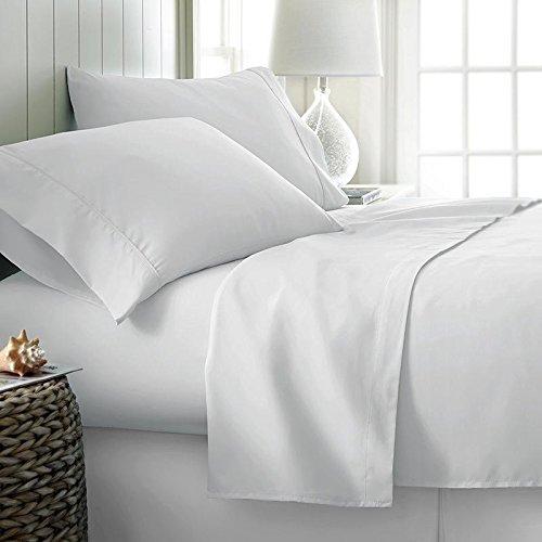 Threads Collection Premium 600Fadenzahl Ultra Soft 600tc flammig Bed Sheet Set Passt bis zu 38,1cm Tief Tasche 100% ägyptische Baumwolle Queen Size {Weiß Massiv} Queen Weiß -