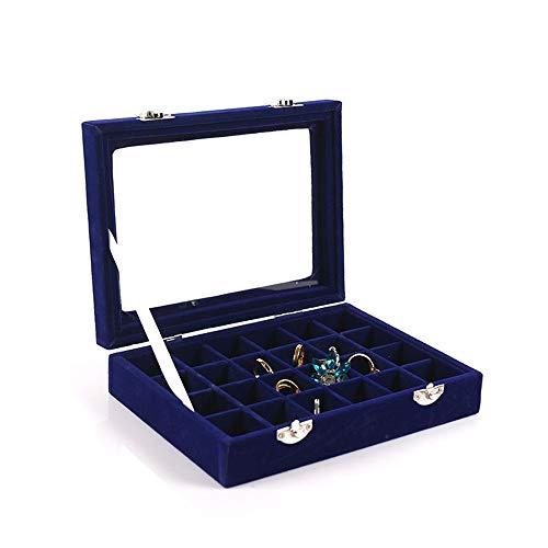 Schmuckkästen Schmuckschatullen 24 Grid Velvet Schmuck Tray Box Glas klarer Deckel Showcase Display Halter Lagerung Ohrring Organizer Halskette Ohrring Box ( Farbe : Royal blue , Größe : 20*15*4.5cm ) -