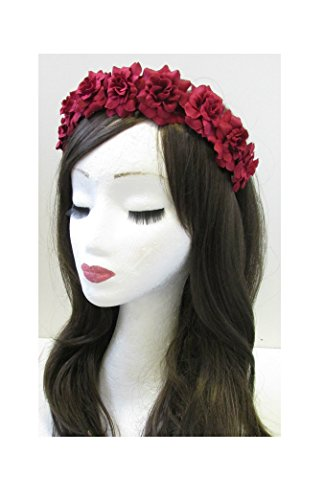 Rose rouge cheveux fleur couronne bandeau Guirlande Argent/festival/style bohème VTG U81 * * * * * * * * exclusivement vendu par – Beauté * * * * * * * *