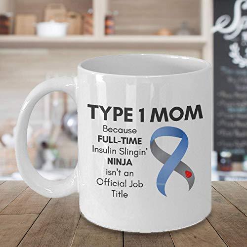 Dozili Typ 1 Diabetes Mama Tasse mit Spruch Diabetes Bewusstsein Tasse Diabetiker Zubehör Typ One Strong Cup 325 ml weiß