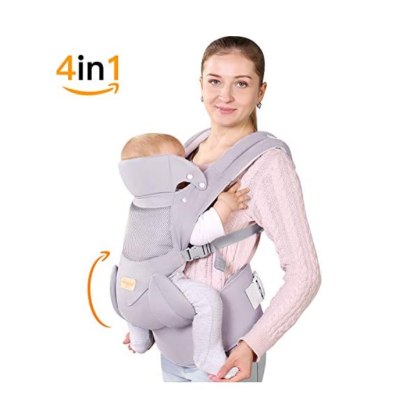 Ergonomic Baby Carrier with Adjustable Hipseat,for M Position,is The Benefits of improving Blood Circulation-Soft Baby Carriers with Front and Back Positions for Infants to Toddlers,Up to 60lbs,Grey tiancaiyiding ❤ Ergonomic Design: Wide and thick backpack straps help relieve stress . Easy to put on or take off. ❤ M shape Position: Stop hurting your baby's legs. Keep blood circulation in normality. ❤ All-round Support: Simple and thus strong structure. 360° wraps the baby against falling out. Collapsible hood for wind and sun protection 1