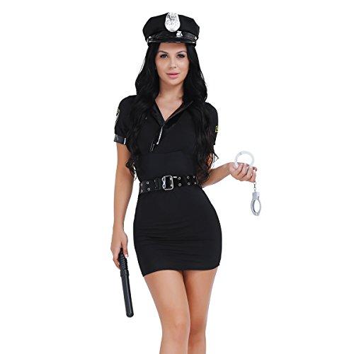 iixpin Déguisement PolicièreFemme Costume Cosplay Jeu de Rôle Jouet d'amour Tenue Officier Robe Spontoon Menottes Ceinture Chapeau Halloween Carnaval Soirée Fête pour Adul
