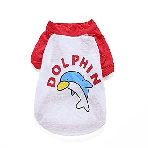 UNI Best Lovely Dog Clothes Cotton Dolphin Pattern Printed Pet Couple Vest Sleeveless Stripe T-Shirts Apparel