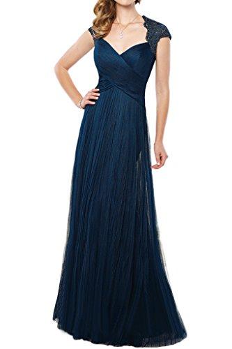 La_mia Braut 2016 Neu Elegant Spitze Chiffon Abendkleider Partykleider Promkleider Lang A-linie Rock Dunkel Blau