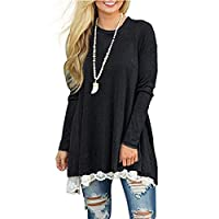 Womens Fall Winter Swing Casual A Line Dress Long Sleeve Lace Tunic T-Shirt Dress (Black, XL)