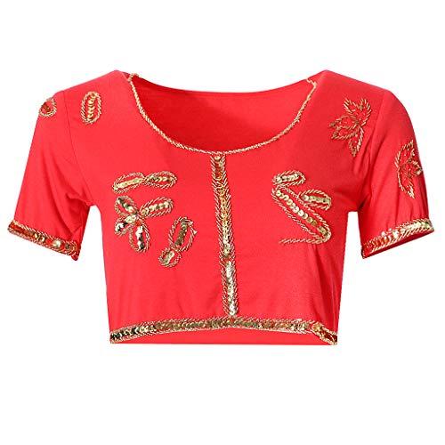Glitzer Kostüm Rot - F Fityle Glitzer Kostüm Oberteil für Yogaübungen und Tanzaufführungen - rot, wie beschrieben
