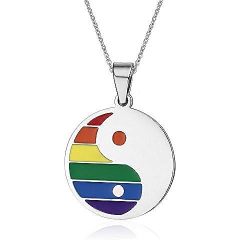LianDuo Yin collana pendente amuleto Yang rotonda Gay Lesbiche LGBT in acciaio inox Arcobaleno Orgoglio Gioielli,catena libera