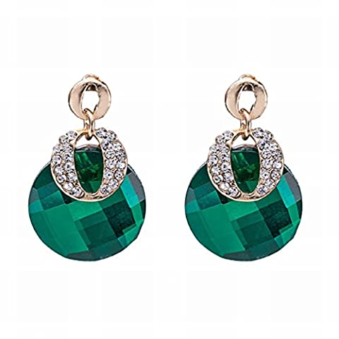 Ladies Point Drill Crystal Glass Alloy Earrings / Anti-allergic / Crystal Element Earrings,Picture color