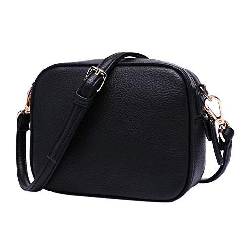 Umhängetasche kleine Dame Stil Einfache Kleine Umhängetasche quadratisch PU Leder Damen Messenger Satchel Bag schwarz (Unter 20 Satchel Schwarze)
