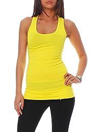 Top T-Shirt Basic Tank viele verschiedene Farben One Size Damen (hellgelb)