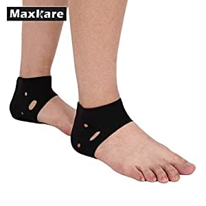 HealthyNeeds Maxkare Pair Foot Guard Pads Ankle Support Breathable Hole Elastic Brace Yoga Black