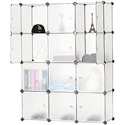 BASTUO 12-Cube DIY Cube de Rangement Organiseur à 3 étages Plastique Armoire Bibliothèque étagères Armoire de Rangement avec Porte, Blanc