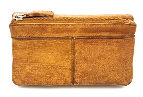 Damen Geldbörse lang Voll-Rind-Leder Jockey Club Shabby Chic Used Optik Vintage Style Cognac braun -