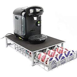 Maison & White 60 Porte Café Capsules Tassimo Nespresso Distributeur Présentoir Café Accessoires pour Machine à café Dolce Gusto | Gris