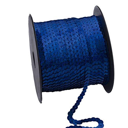 Demarkt Paillettenband, 90 Meter Langes, Farbiges Pailletten Band - 6 mm Breites Bortenband - Glänzende Paillettenbänder für Bastelprojekte, Tanzbekleidungen, 1 Volumen (Dunkelblau) - Pailletten-band