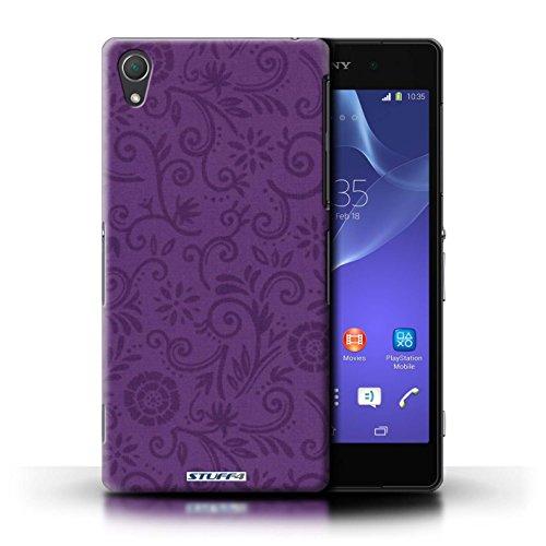 Kobalt® Imprimé Etui / Coque pour Sony Xperia Z2 / Fleur verte conception / Série Motif Remous floral Fleur pourpre
