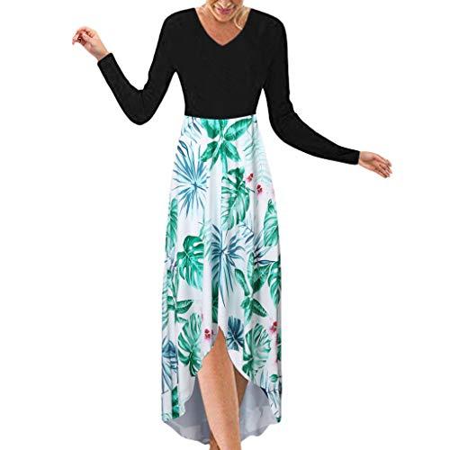 MasteriOne Robe Longue Dames Robe de soirée col en V Sexy Dame bohème col imprimé Fleurs suspendues Ourlet irrégulier Robe Longue sans Manches été Plage